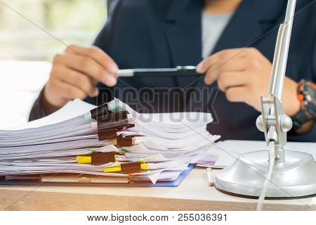 Asian Business Man Manager Sitting Hold Pen For Signing Applicant Filling Documents Reports Papers C