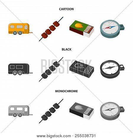 Trailer, Shish Kebab, Matches, Compass. Camping Set Collection Icons In Cartoon, Black, Monochrome S