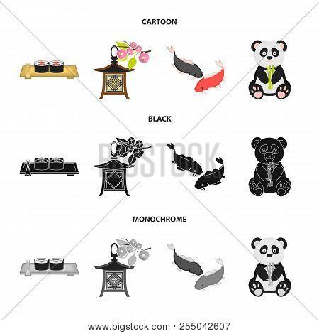 Sushi, Koi Fish, Japanese Lantern, Panda.japan Set Collection Icons In Cartoon, Black, Monochrome St