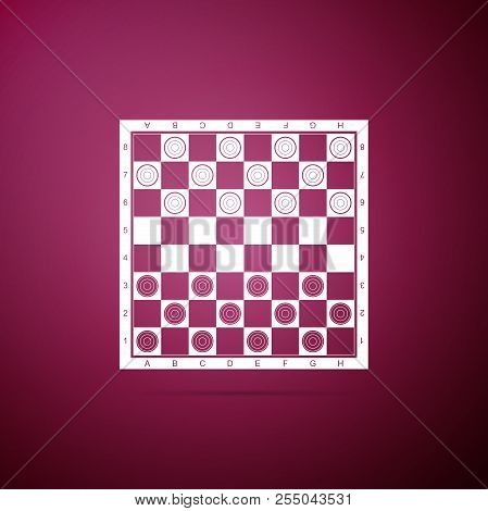 Board Game Of Checkers Icon Isolated On Purple Background. Ancient Intellectual Board Game. Chess Bo