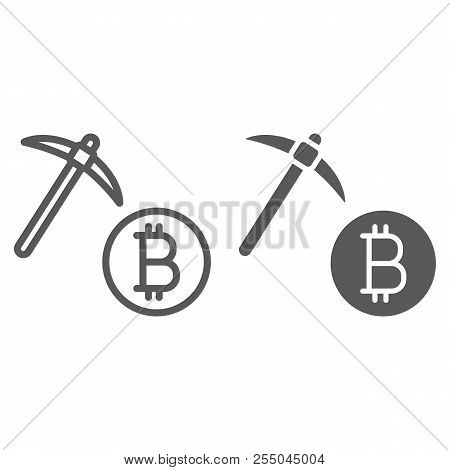 Bitcoin Mining Line And Glyph Icon, Money And Finance, Cryptocurrency Mining Sign, Vector Graphics,
