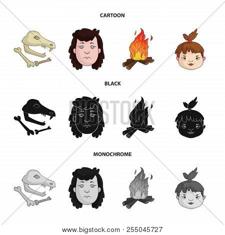Woman, Hair, Face, Bonfire .stone Age Set Collection Icons In Cartoon, Black, Monochrome Style Vecto