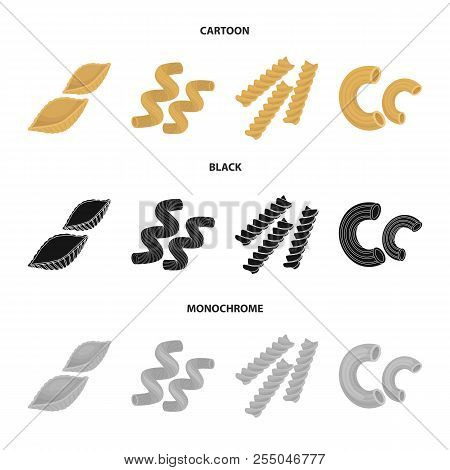 Different Types Of Pasta. Types Of Pasta Set Collection Icons In Cartoon, Black, Monochrome Style Ve