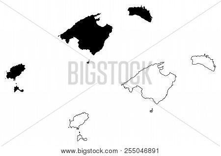 Balearic Islands (kingdom Of Spain, Autonomous Community) Map Vector Illustration, Scribble Sketch