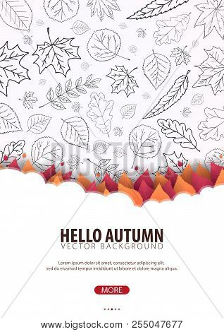 Autumn Background With Leaves. For Shopping Sale, Promo Poster And Frame Leaflet, Web Banner. Vector