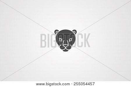 Panther Icon In Outline Design Isolated On White Background. Realistic Animals Symbol Stock Vector I