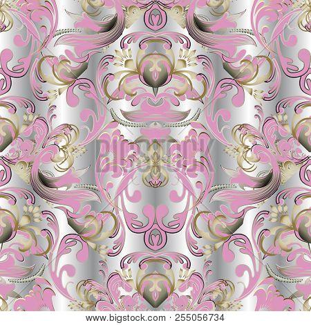 Baroque Floral Vector 3d Seamless Pattern. Damask Ornamental Ele