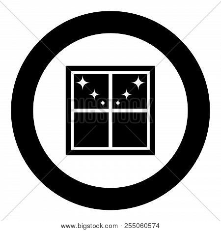 Window Overlooking The Night Stars Icon Black Color In Round Circle Vector Illustration