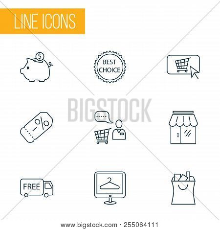 E-commerce Icons Line Style Set With Savings, Storefront, Shopping Bag And Other Piggy Bank Elements