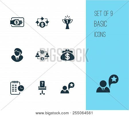 Job Icons Set With Business Goal, Long-term Plan, Job Performance And Other Earning Elements. Isolat