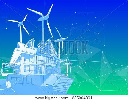 A modern house and windmills on a green background surrounded by digital networks: an illustration of a smart eco-friendly home - the concept of modern information technology smart house or smart city