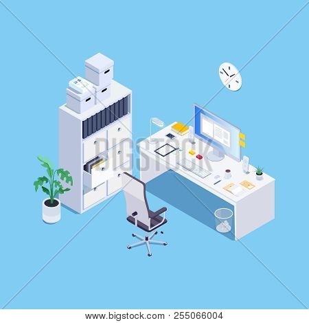 Concept Of Office Room. White Office Furniture. 3d Armchair, Desk, Computer And Locker. Isometric. V