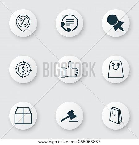 E-commerce Icons Set With Parcel, Currency Interchange, Paper Tag And Other Discount Coupon Elements