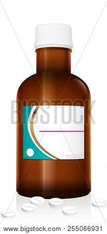 Dummy Medicine Bottle. Unlabeled Vial With Tablets. Pharmaceutical Brown Glass With Blank Label And
