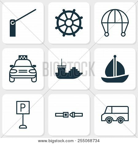 Shipping Icons Set With Cargo Boat, Barrier, Sail Ship And Other Tanker Elements. Isolated Vector Il