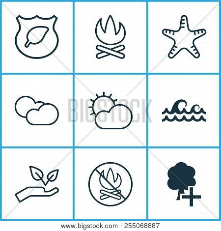 Ecology Icons Set With Cloudy Weather, Protect Nature, Protect Ecology And Other Cloud Cumulus Eleme