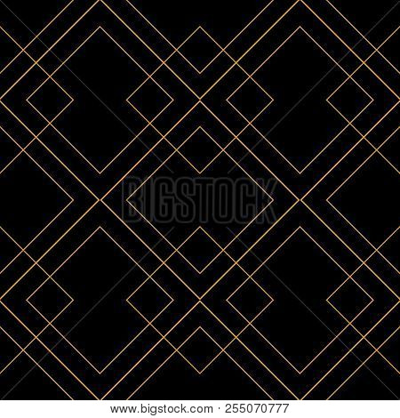 Tile Vector Pattern With Golden Ornament On Black Background For Seamless Decoration Wallpaper
