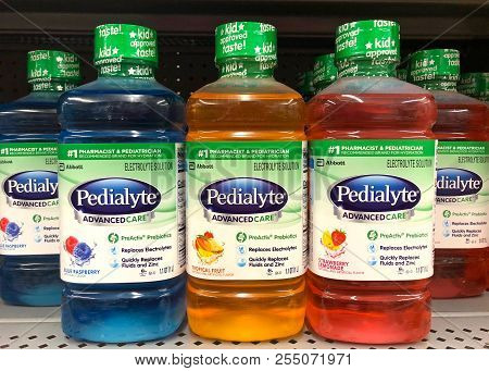San Leandro, Ca - July 30, 2018: Grocery Store Shelf With Bottles Of Pedialyte, Helps Prevent Dehydr