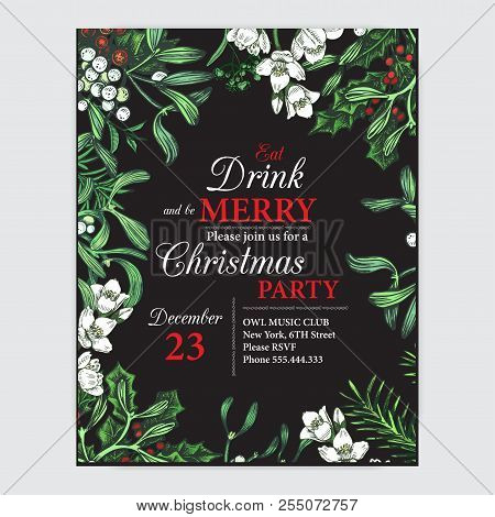 Invitation Card For A Christmas Party. Design Template With Xmas Hand-drawn Graphic Illustrations. G