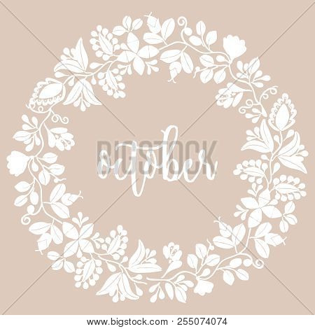 Hello October Wreath Vector Card With Pastel Background