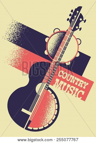 Country Music Background With Musical Instruments And Decoration Text.vector Retro Poster