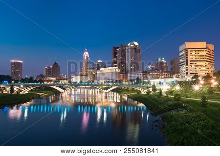 Columbus, Ohio City Night Skyline Along The Scioto River