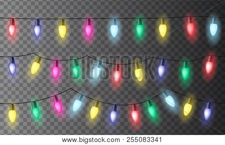 Set Of Three Chains Of Colorful Christmas Lights Or Celebration Lights With Red, Green Yellow And Bl