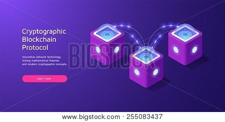 Cryptographic Protocol Of Data Exchange In Blockchain Technology. Vector Illustration Of Cryptocurre