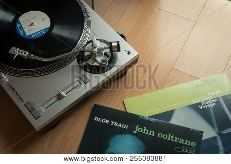 Bangkok, Thailand - August 19, 2018: The Audio-technica Turntable With John Coltrane And Herbie Hanc