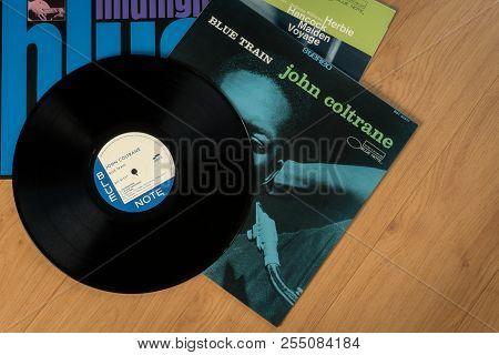 Bangkok, Thailand - August 19, 2018: The John Coltrane, Herbie Hancock And Kenny Burrell Vinyl Recor