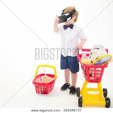 Shopping, Discount, Sale, Modern Technology Concept. Little Boy With Shopping Cart&basket In Virtual