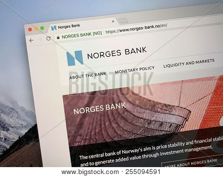 Amsterdam, The Netherlands - August 23, 2018: Website Of Norges Bank, The Central Bank Of Norway.