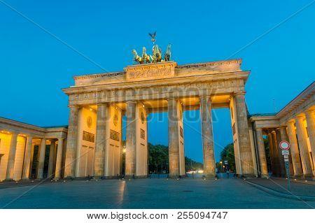 The Brandenburg Gate In Berlin In The Morning From Pariser Platz, Germany.