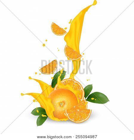 Juice Milk Yogurt Orange Slices Splashing. Orange Leaf. Juicy Orange Splash Packaging Template. Fall