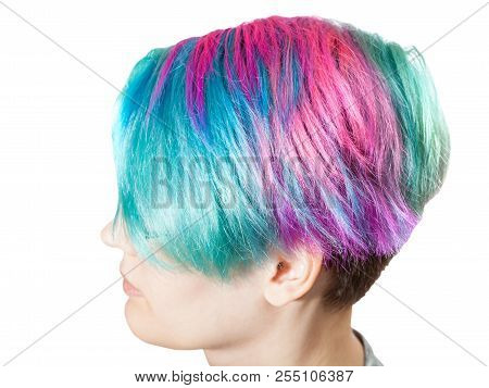 above view of female head with multi colored dyed hairs on white background poster