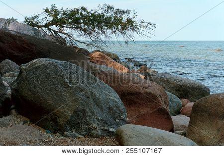 Rocky Shore, Huge Stones, Boulders On The Sea Shore