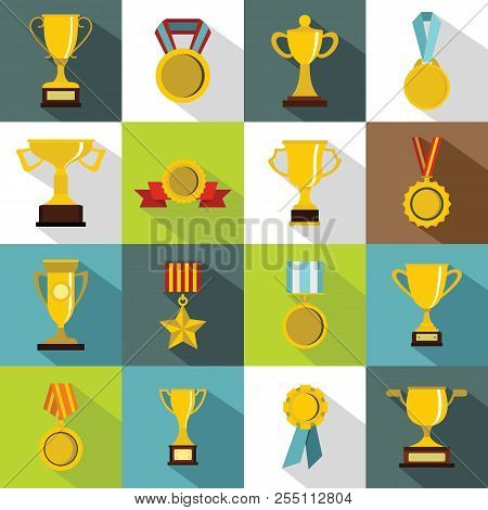 Trophy Icons Set. Flat Illustration Of 16 Trophy Icons For Web