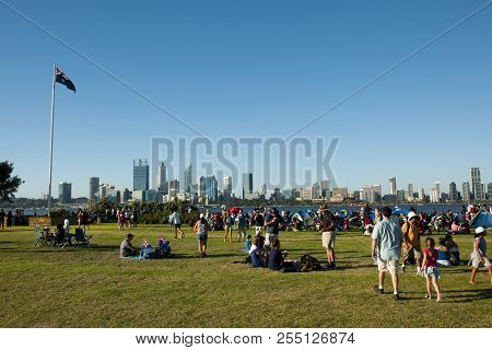 Perth, Australia - January 26, 2018: People Gathered On South Perth Foreshore Awaiting The Annual Au