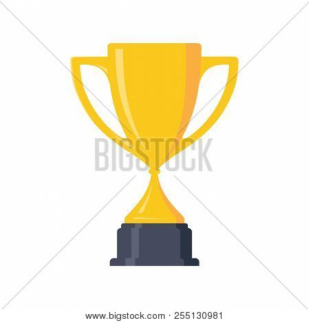 Best Simple Champion Cup Winner Trophy Award And Victory Design Element. Flat Icon Vector Trophy. Ve