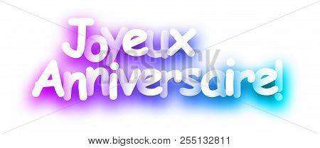 Purple Spectrum Happy Birthday Card On White Background, French.