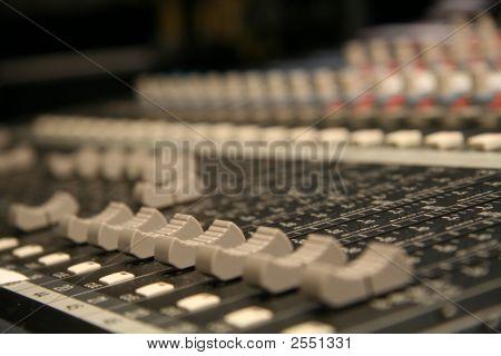 Sliders On An Audio Board