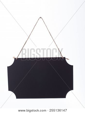 Empty Hanging Black Chalkboard Isolated On White.