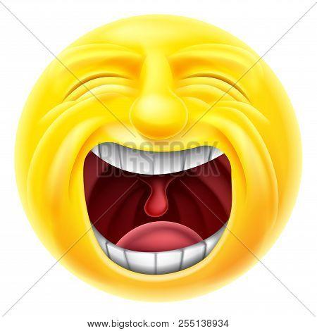 A Screaming Cartoon Emoji Emoticon Face Character