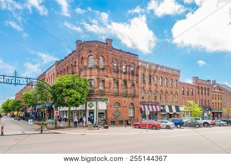 Charlottetown,canada - June 19,2018 - Buildings In The Streets Of Charlottetown. Charlottetown Is Th