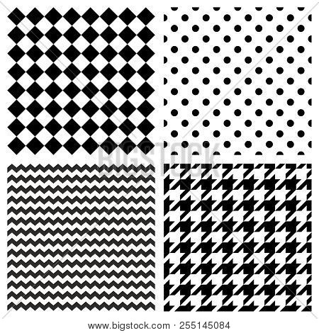 Tile Vector Pattern Set With Black And White Polka Dots, Zig Zag, Hounds Tooth And Stripes  Backgrou
