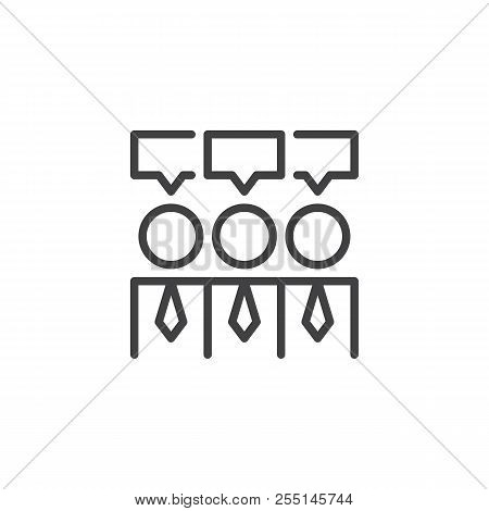 Consensus Outline Icon. Linear Style Sign For Mobile Concept And Web Design. Businessmen And Speech