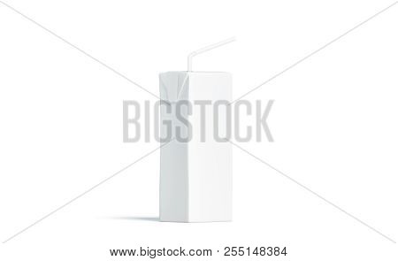 Blank White Juice Pack With Straw Mockup, Side View, 3d Rendering. Empty Milk Packaging With Tube Mo