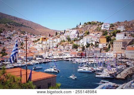 Landscape Of Hydra Island Saronic Gulf Greece .main Port Of Hydra Island .