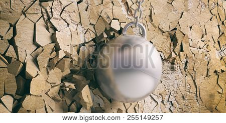 Wrecking Ball Hitting And Breaking A Golden Wall. 3D Illustration