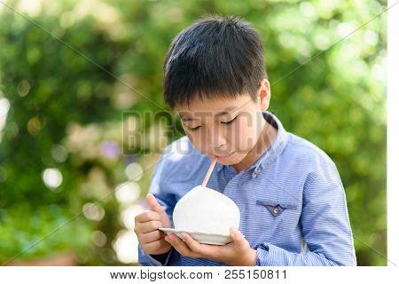 Boy Drink Instant Fresh Coconut Juice